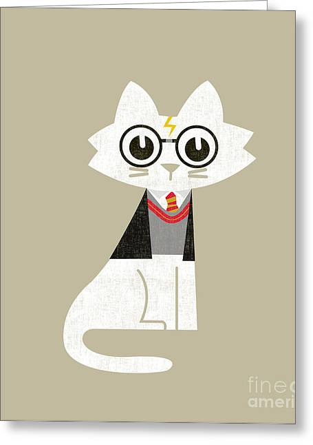 Cute Cat Greeting Cards - Mark the wizard cat Greeting Card by Budi Kwan