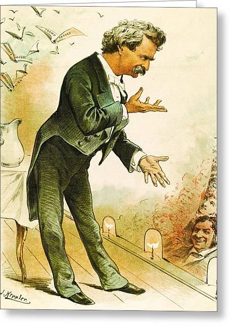 Huckleberry Digital Art Greeting Cards - Mark Twain Americas Best Humorist Greeting Card by Joseph Keppler