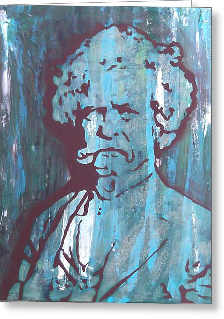Huckleberry Paintings Greeting Cards - Mark Twain Greeting Card by Jill Wells