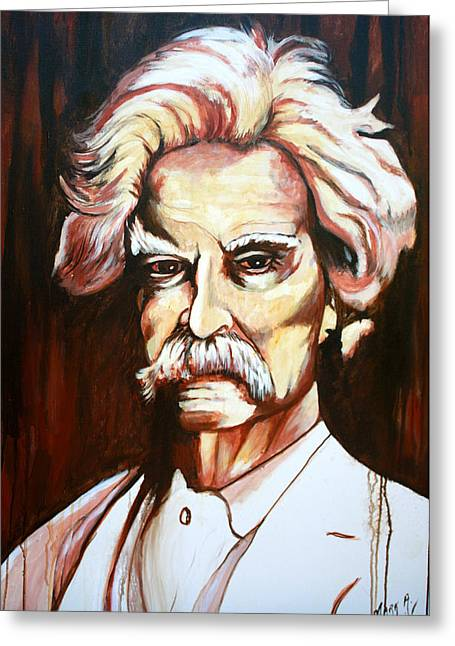 Huckleberry Paintings Greeting Cards - Mark Twain Greeting Card by Mark SWAIN