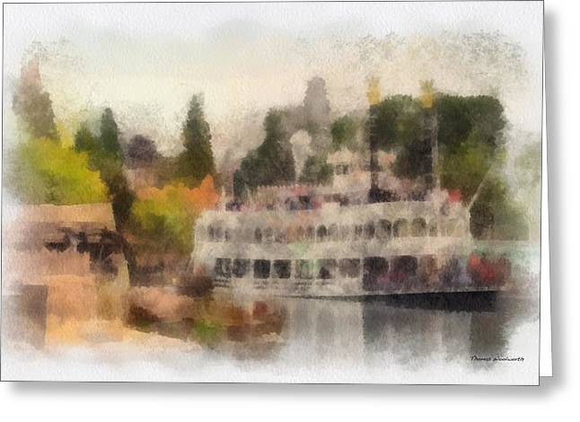 Beauty Mark Greeting Cards - Mark Twain Riverboat Frontierland Disneyland Photo Art 01 Greeting Card by Thomas Woolworth