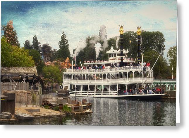 Beauty Mark Greeting Cards - Mark Twain Riverboat Frontierland Disneyland Textured Sky Greeting Card by Thomas Woolworth