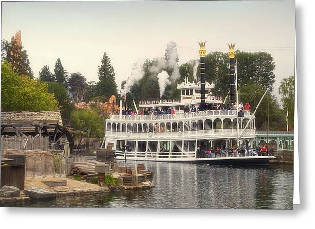 Beauty Mark Greeting Cards - Mark Twain Riverboat Frontierland Disneyland Greeting Card by Thomas Woolworth
