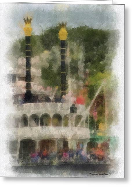 Beauty Mark Greeting Cards - Mark Twain Riverboat Frontierland Disneyland Vertical Photo Art 01 Greeting Card by Thomas Woolworth