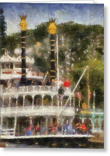 Beauty Mark Greeting Cards - Mark Twain Riverboat Frontierland Disneyland Vertical Photo Art 02 Greeting Card by Thomas Woolworth