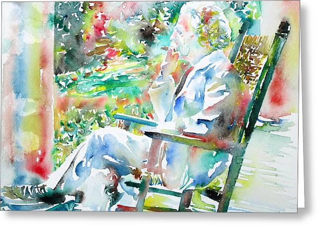 MARK TWAIN sitting and smoking a CIGAR - watercolor portrait Greeting Card by Fabrizio Cassetta