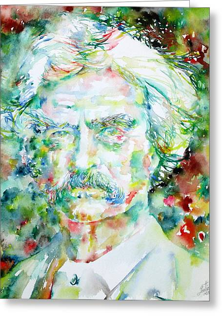 Huckleberry Paintings Greeting Cards - MARK TWAIN - watercolor portrait Greeting Card by Fabrizio Cassetta