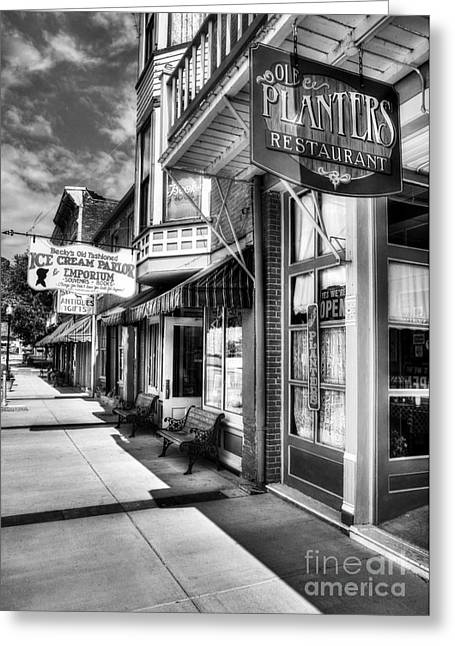 Becky Greeting Cards - Mark Twains Town BW Greeting Card by Mel Steinhauer