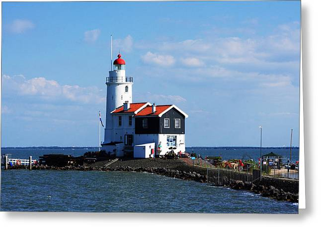 Lost At Sea Greeting Cards - Marken Lighthouse Greeting Card by Aidan Moran