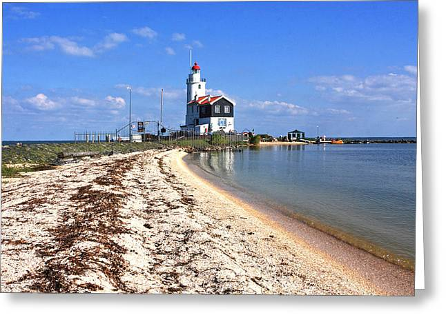 Lost At Sea Greeting Cards - Marken Lighthouse And Beach Greeting Card by Aidan Moran