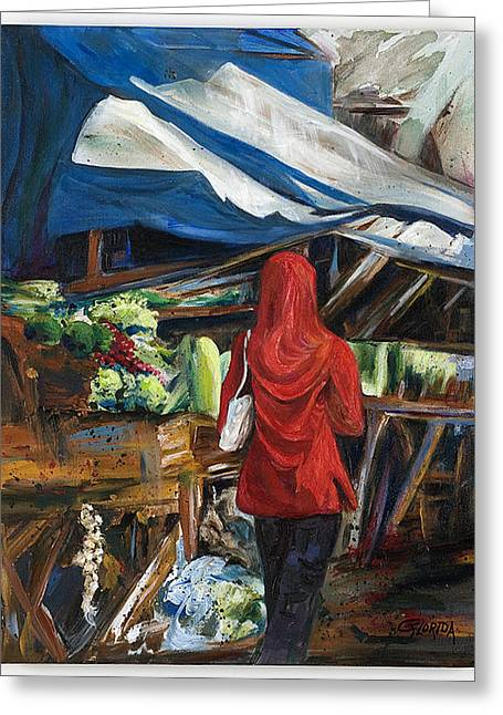 Head Stand Paintings Greeting Cards - Market Analysis Greeting Card by Csilla Florida