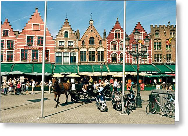 Awning Photographs Greeting Cards - Market At A Town Square, Bruges, West Greeting Card by Panoramic Images