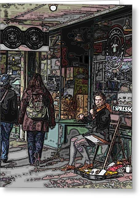 Light Blue Grey Greeting Cards - Market Busker 8 Greeting Card by Tim Allen