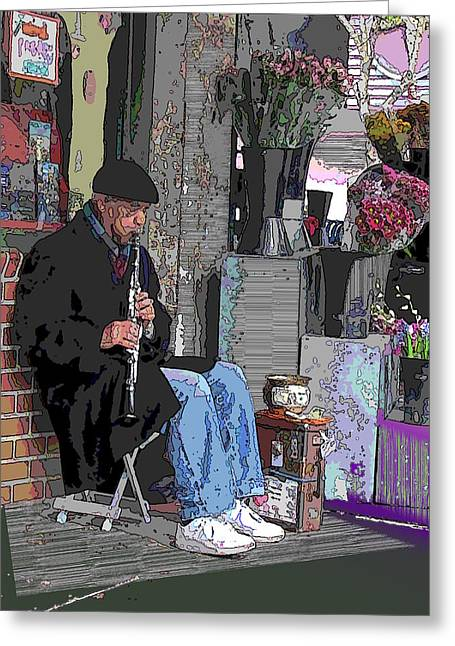 Light Grey Greeting Cards - Market Busker 9 Greeting Card by Tim Allen