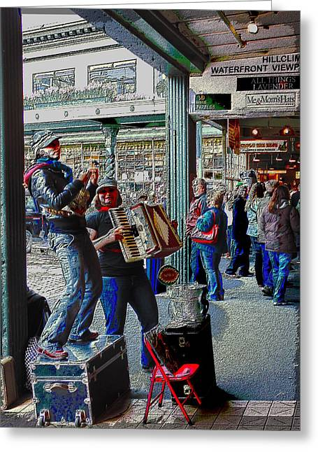 Market Buskers 5 Greeting Card by Tim Allen