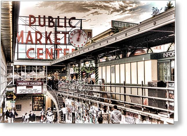 Center City Greeting Cards - Market Center Greeting Card by Spencer McDonald