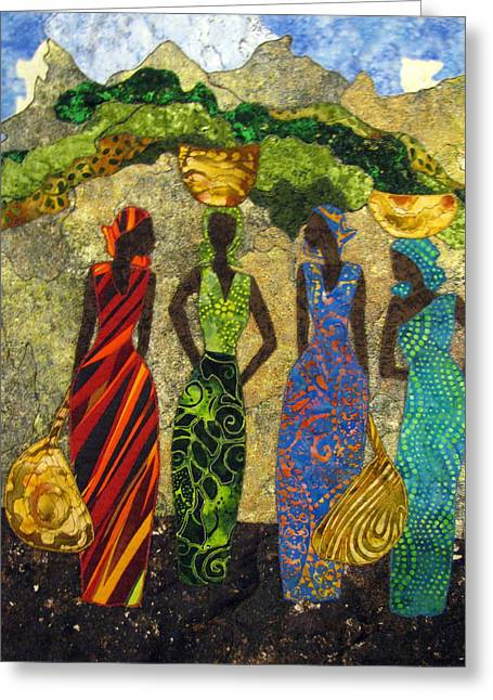 People Tapestries - Textiles Greeting Cards - Market Day #1 Greeting Card by Lynda K Boardman