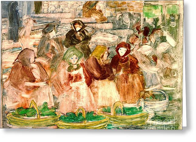 Market Day 1899 Greeting Card by Padre Art