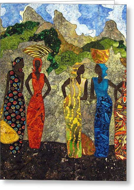 People Tapestries - Textiles Greeting Cards - Market Day #2 Greeting Card by Lynda K Boardman