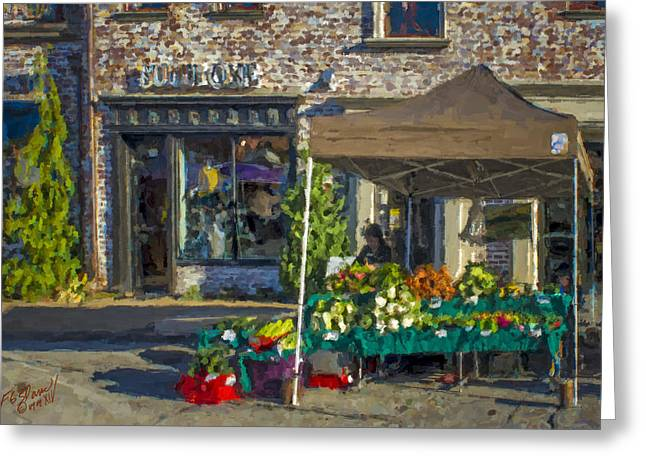Market Day - Chalk Painting Greeting Card by F Leblanc