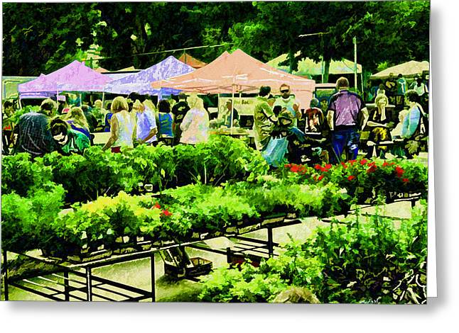 Local Food Greeting Cards - Market Day Greeting Card by Kathy Bassett