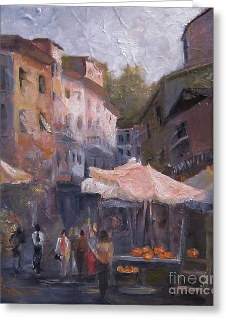 Impressionistic Market Greeting Cards - Market Day Greeting Card by Leah Wiedemer
