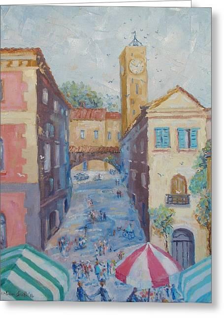 Italian Market Paintings Greeting Cards - Market Day Orvieto Italy Greeting Card by Elinor Fletcher