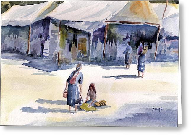 Tent Greeting Cards - Market Day Greeting Card by Sam Sidders