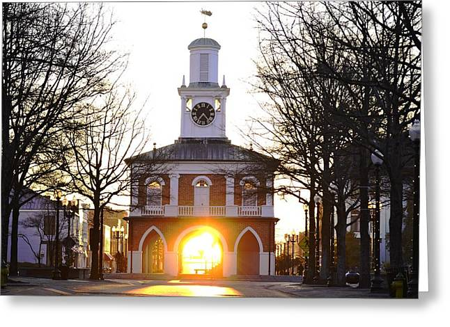 Observer Greeting Cards - Market House Sunrise - Fayetteville - January 29 2015 Greeting Card by Matt Plyler