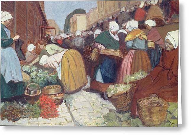 Fruit And Flowers Greeting Cards - Market in Brest Greeting Card by Fernand Piet
