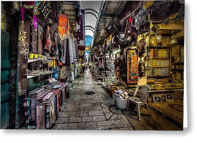 1506 Greeting Cards - Market in the Old City of Jerusalem Greeting Card by David Morefield