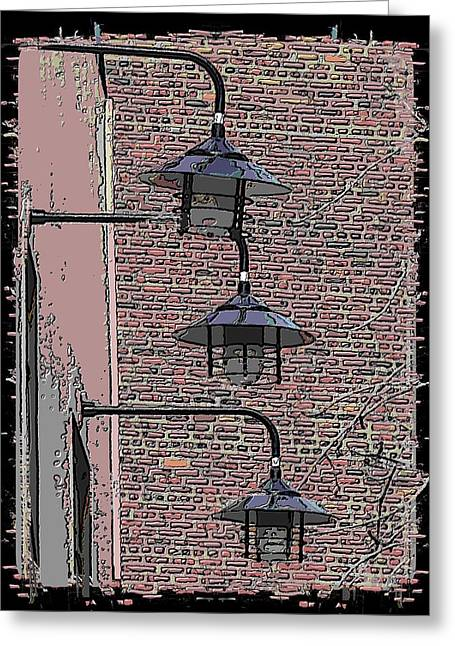 Light Grey Greeting Cards - Market Lights Greeting Card by Tim Allen