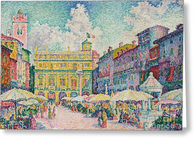 Spring Scenes Greeting Cards - Market of Verona Greeting Card by Paul Signac