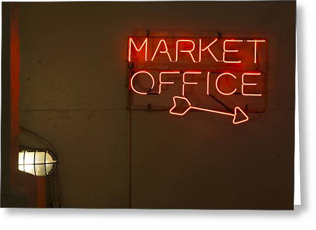 Glow Greeting Cards - Market Office to the right Greeting Card by Scott Campbell