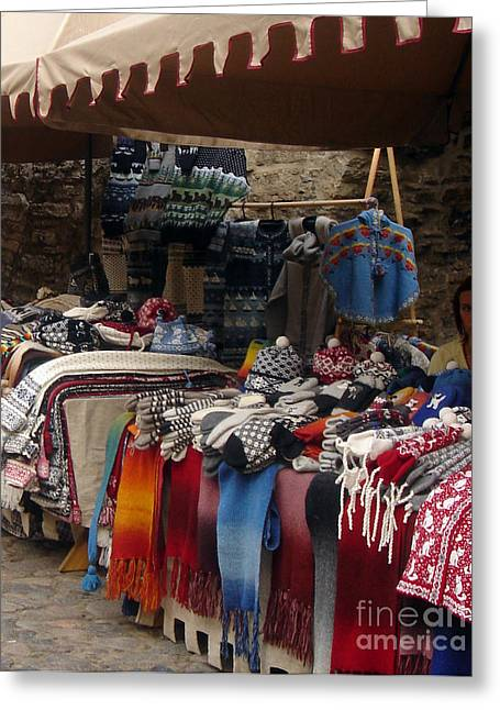 Shawl Bay Greeting Cards - Market Sale Greeting Card by Brenda Dorman