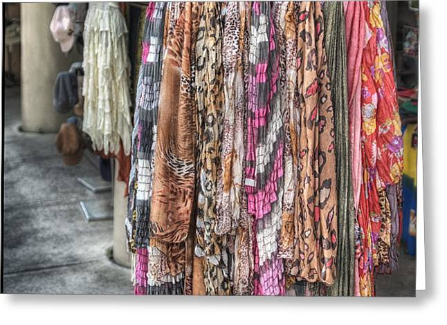 Market Scarves Greeting Card by Brenda Bryant
