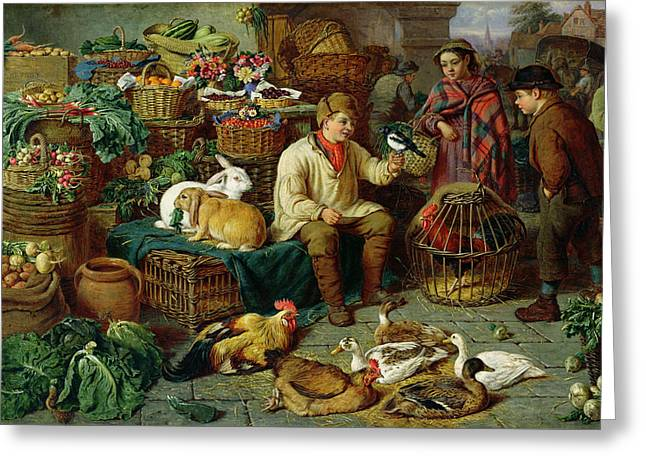 Trader Greeting Cards - Market Scene Greeting Card by Henry Charles Bryant