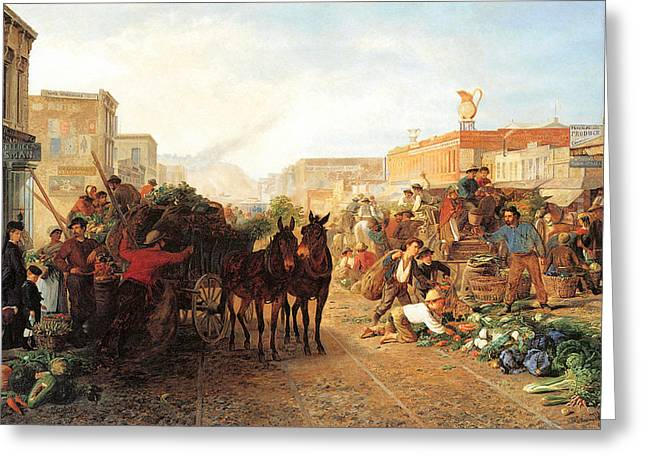 Horse And Cart Greeting Cards - Market Scene Sansome Street San Francisco Greeting Card by William Hahn