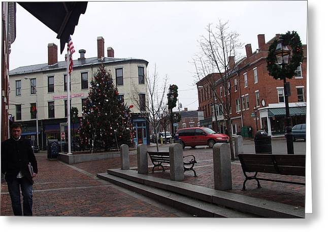 New Hampshire Greeting Cards - Market Square Christmas Greeting Card by Elizabeth Joslin
