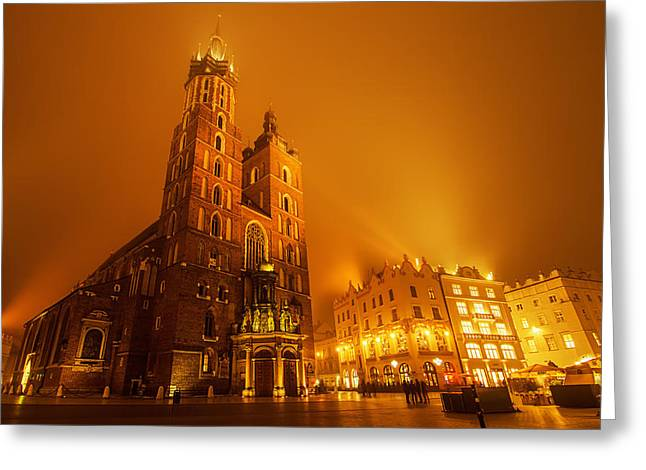 Polish Culture Greeting Cards - Market square in Cracow at night Greeting Card by Roksana Bashyrova