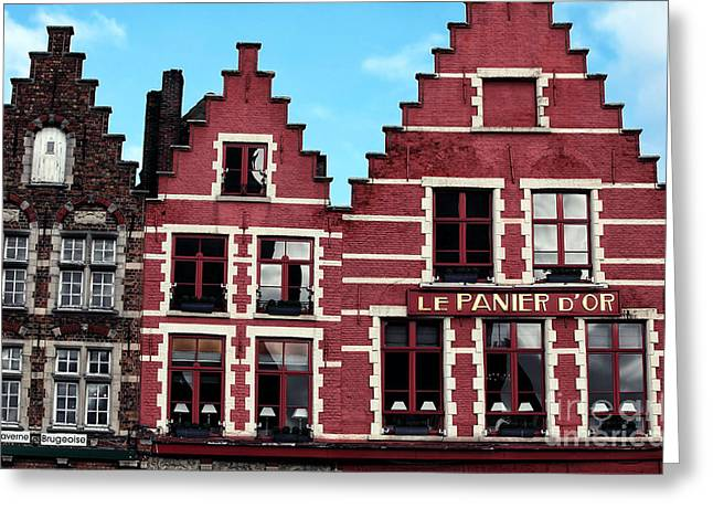 Red Buildings Greeting Cards - Market Square Shapes Greeting Card by John Rizzuto