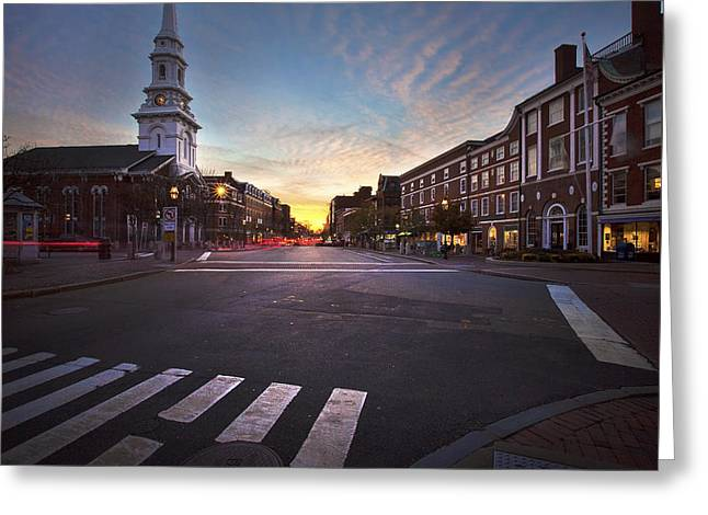 Streetlight Greeting Cards - Market Square Sunset Greeting Card by Eric Gendron