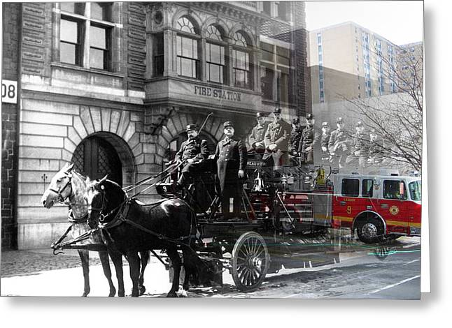 Best Sellers -  - Brigade Greeting Cards - Market Street Fire Station Greeting Card by Eric Nagy