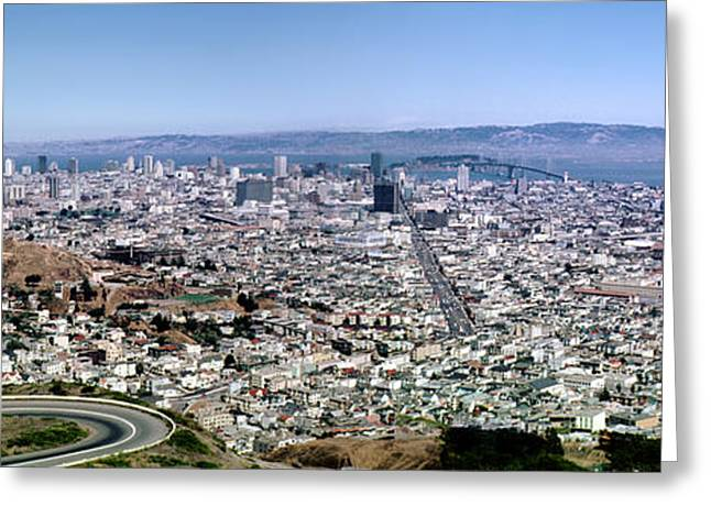 Downtown San Francisco Greeting Cards - San Francisco Skyline August 1966 Greeting Card by Wernher Krutein