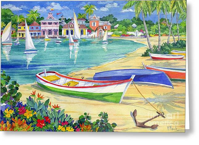 Yellow Sailboats Greeting Cards - Market Street Harbor Greeting Card by Paul Brent