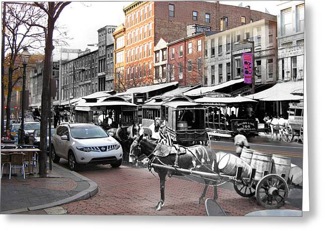 Philadelphia Greeting Cards - Market Street in Old City Greeting Card by Eric Nagy