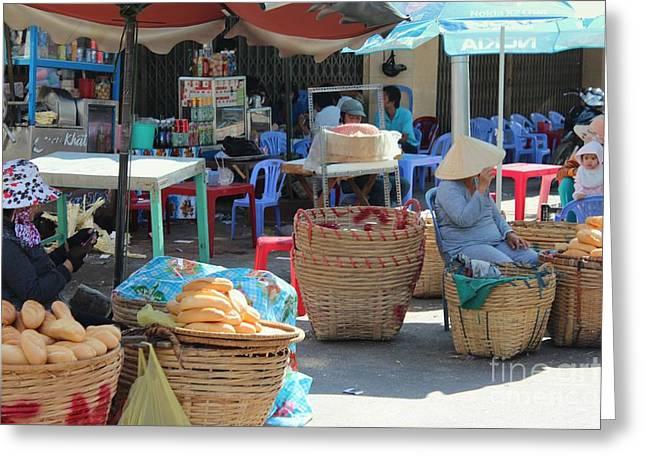 Market Street Vietnam Greeting Card by Yury Bashkin