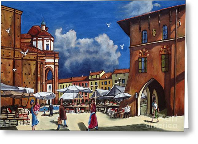 Italian Shopping Paintings Greeting Cards - Marketplace Greeting Card by William Cain