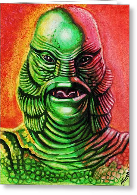 Dave Mixed Media Greeting Cards - Marks Creature from the Black Lagoon Greeting Card by David Shumate