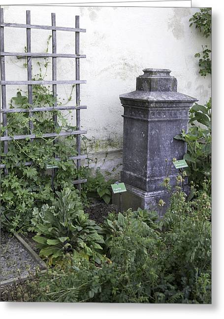 Garden Statuary Greeting Cards - Marksburg Castle Herb Garden 02 Greeting Card by Teresa Mucha